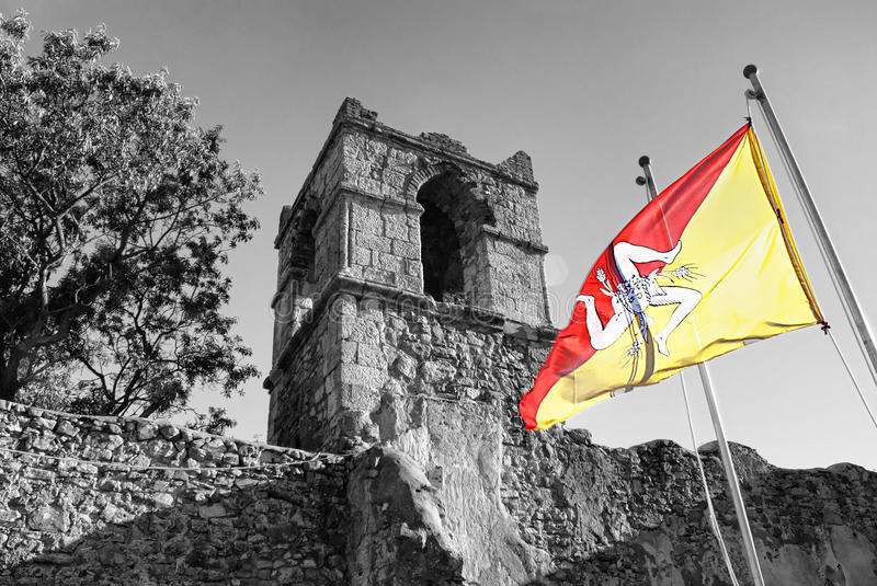 Download Sicilian Flag On Old Architecture Stock Image - Image: 38424651