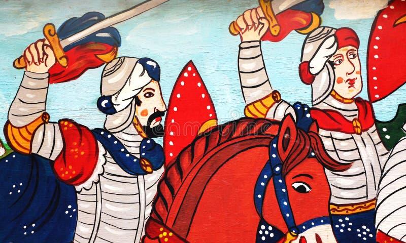 Sicilian folkkonst, målningar av triumfvagnar, paladin royaltyfria foton