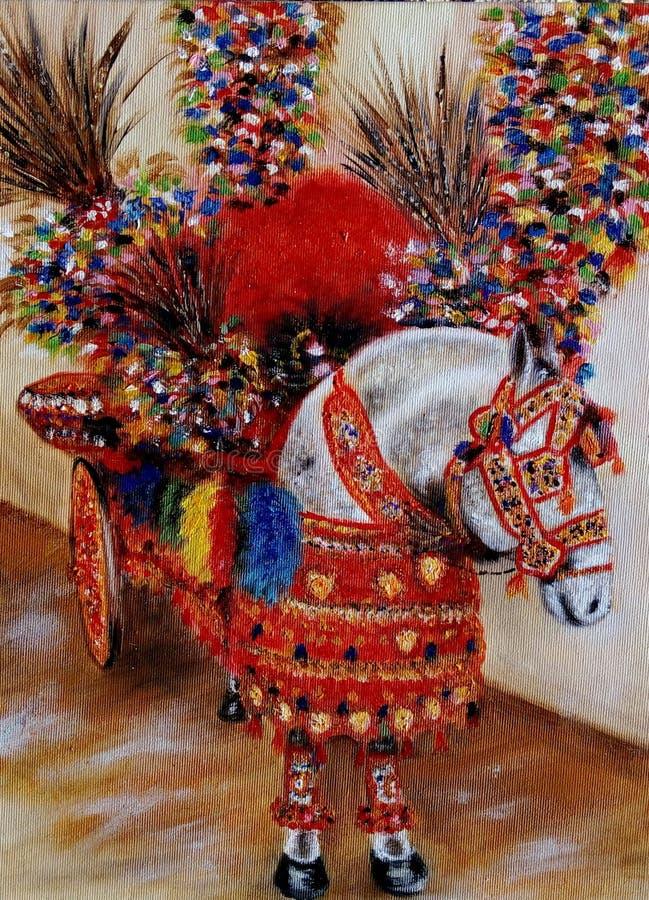 Sicilian häst på ön av Ortigia royaltyfria foton