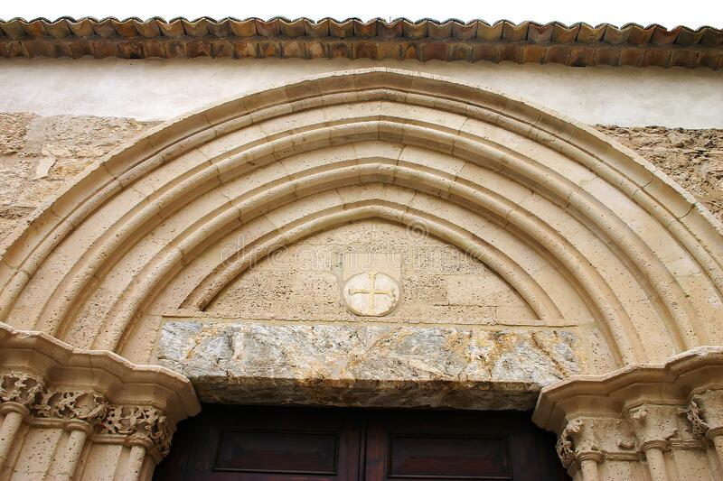 Sicilian late gothic arch detail stock photo