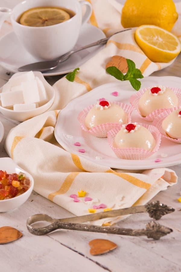 Sicilian ricotta cake Cassata. Sicilian ricotta cake Cassata on white dish stock photo