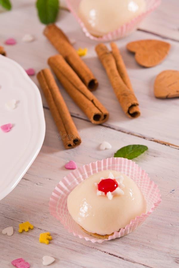 Sicilian ricotta cake Cassata. Sicilian ricotta cake Cassata on white dish stock photography