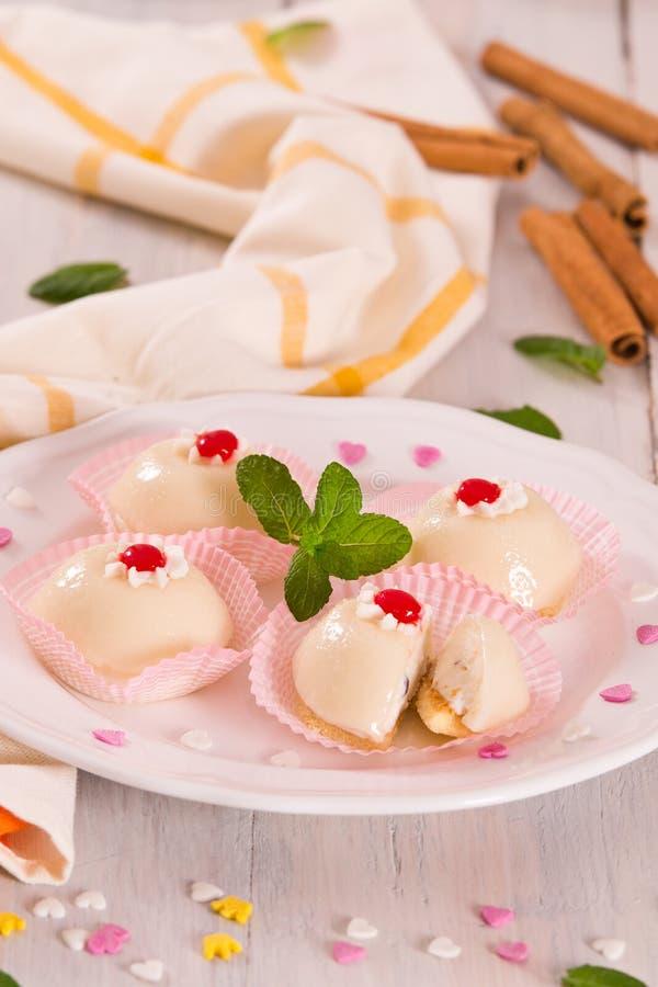 Sicilian ricotta cake Cassata. Sicilian ricotta cake Cassata on white dish royalty free stock photography