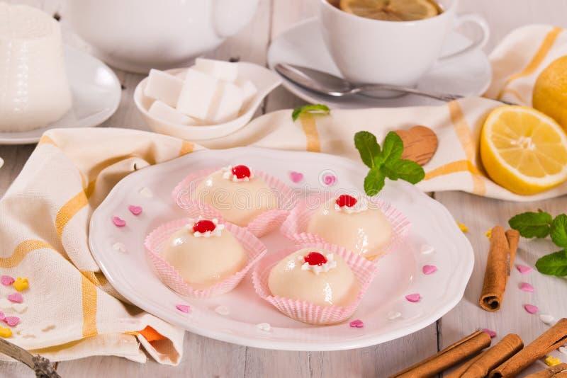 Sicilian ricotta cake Cassata. Sicilian ricotta cake Cassata on white dish stock images