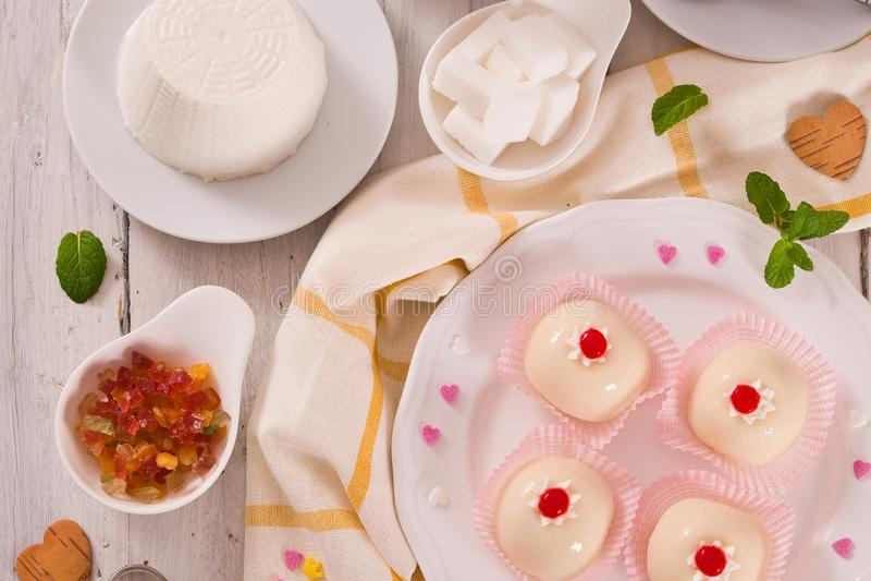 Sicilian ricotta cake Cassata. Sicilian ricotta cake Cassata on white dish royalty free stock images