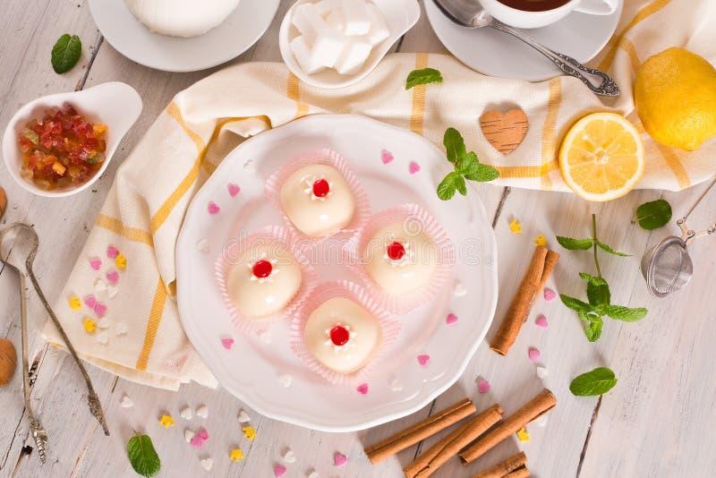 Sicilian ricotta cake Cassata. Sicilian ricotta cake Cassata on white dish royalty free stock photo