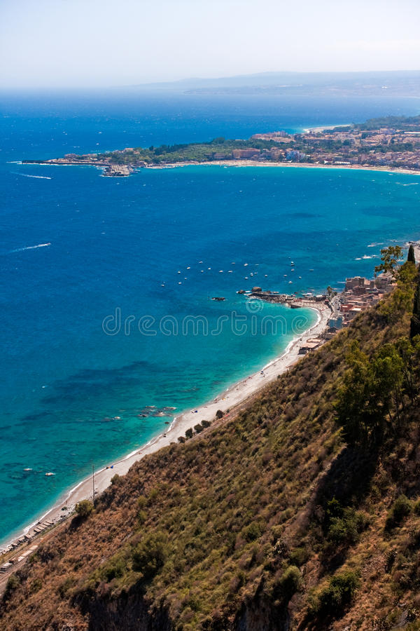 Download Sicilian seascape stock image. Image of italy, hill, town - 21030113