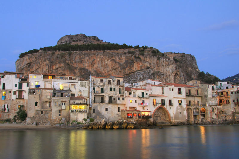 Download Sicilian Town Of Cefalu At Dusk Stock Photo - Image: 29388976