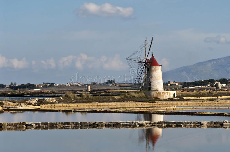 Sicilian windmill stock photography