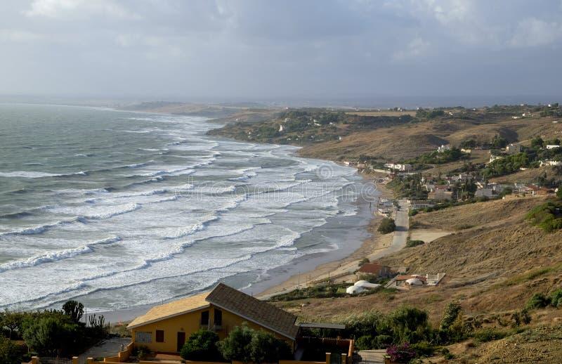 Sicilien kustlandskap nära Sciacca fotografering för bildbyråer