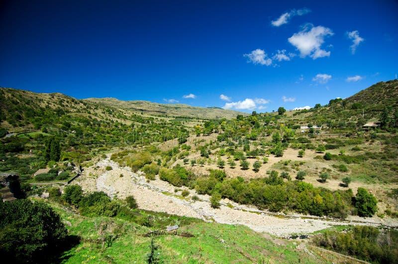 Sicily, Alcantara rzeki dolina - obraz stock