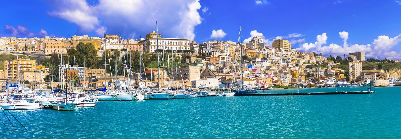 Sicily - beautiful coastal town Sciacca in south of island. Italy. Traditional colorful houses inSciacca town,Sicily,Italy stock image
