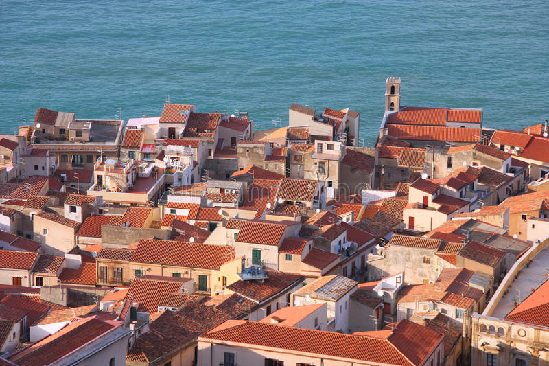 Sicily - Cefalu. Cefalu, Sicily island in Italy. Aerial view of beautiful Mediterranean town. Province of Palermo royalty free stock photos