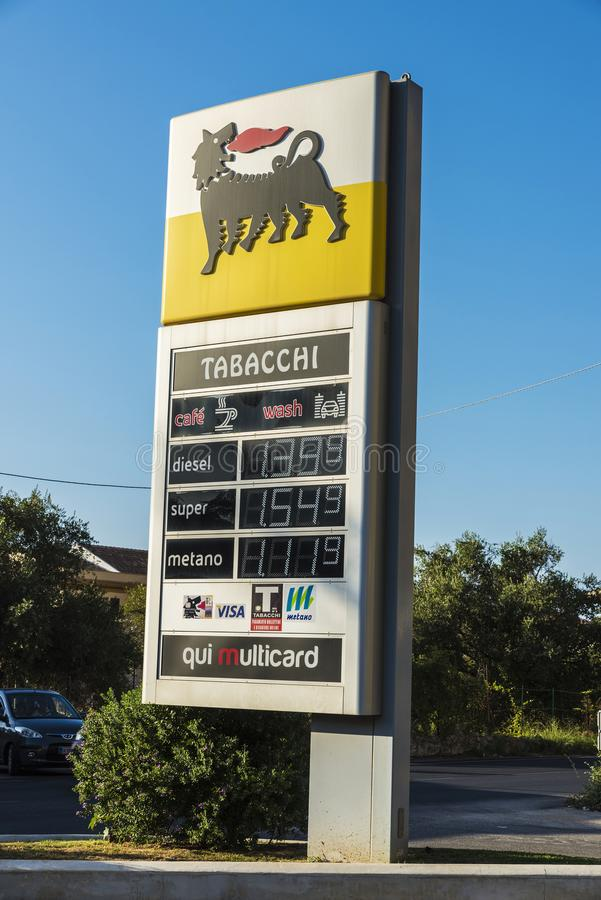 Eni gas station in Sicily, Italy stock image