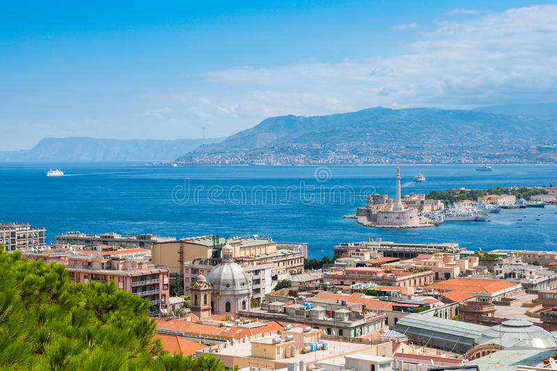 Sicily and Italy border stock image