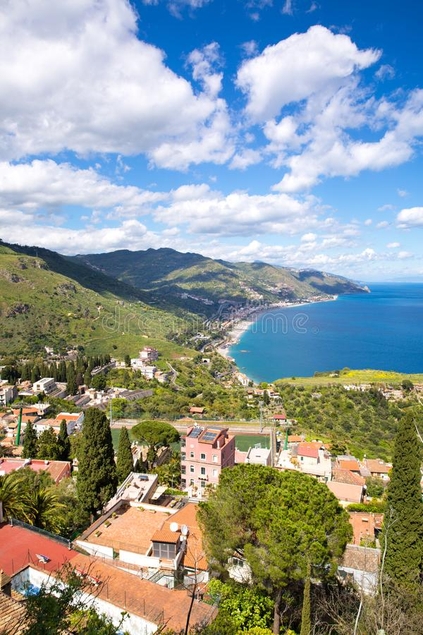 Sicily, Italy. Ionian sea and beautiful mountains landscape in bright summer day, Taormina stock images