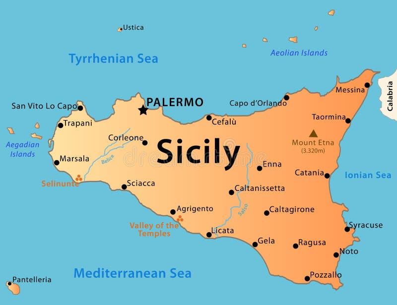 Sicily kartlägger royaltyfri illustrationer