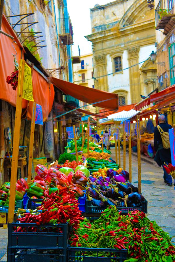 Free Sicily, Palermo Street Market, Colorful Stalls, Vegetables And Fruits, Palermo Old Town, Travel Italy Royalty Free Stock Image - 104271696