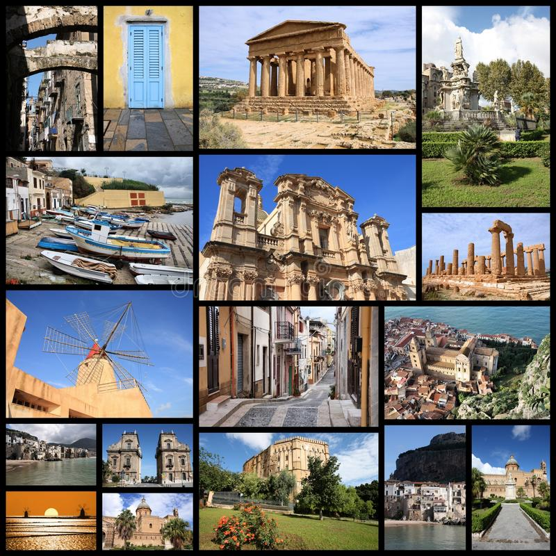 Sicily photos. Photo collage from Sicily island, Italy. Collage includes major landmarks like Palermo, Agrigento, Marsala and Cefalu stock photo
