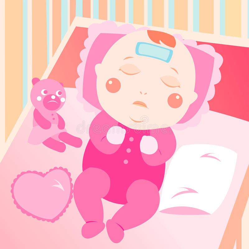 Sick baby on the bed stock illustration