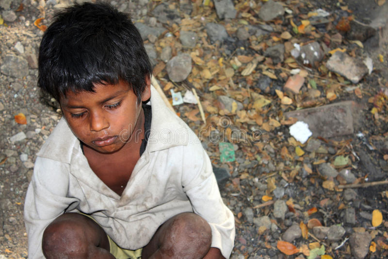 Sick Beggar Boy royalty free stock photos