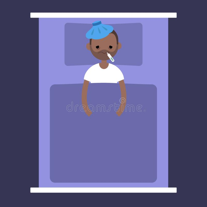 Sick black man lying under the blanket with an ice pack royalty free illustration