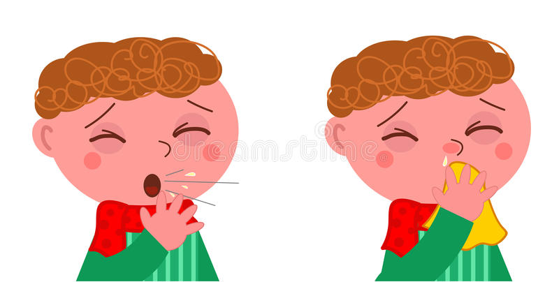 Sick boy with cough and cold stock illustration