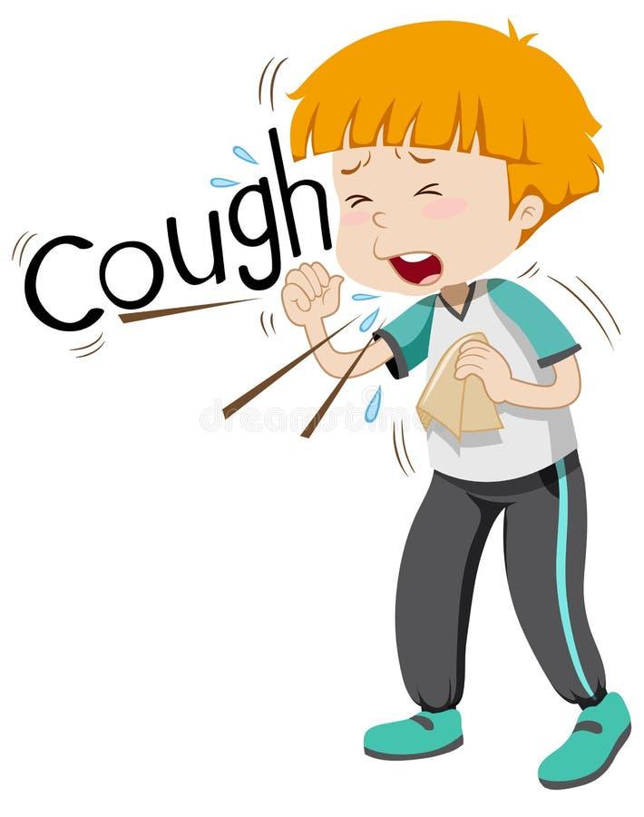 Sick boy coughing hard stock illustration