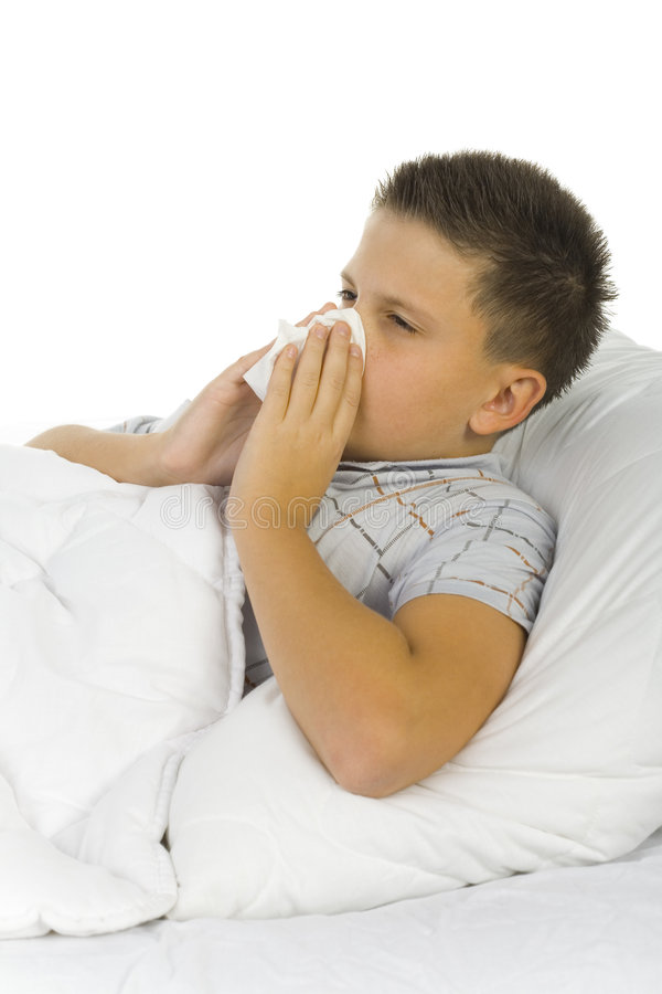 Download Sick boy with hankie stock image. Image of cualtre, patient - 3463075