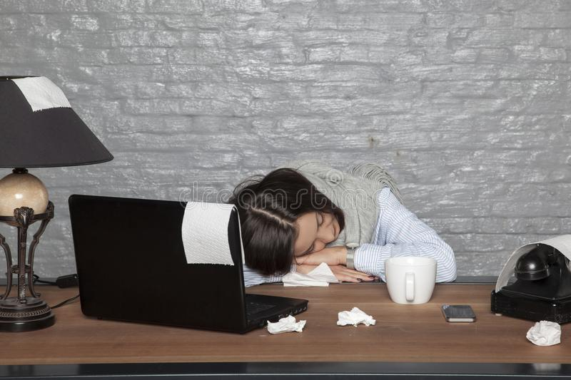 Sick business woman fell asleep on the desk with exhaustion. Portrait of a business person stock images