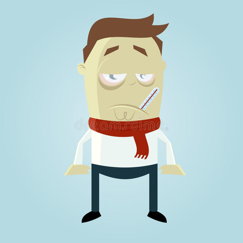 Sick cartoon man vector illustration