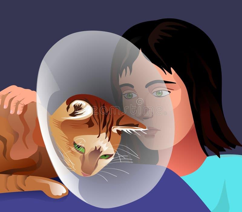 A sick cat. The girl pities a sick cat