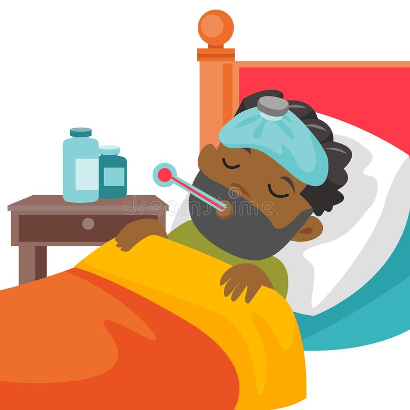 Young sick caucasain white boy laying in bed. vector illustration