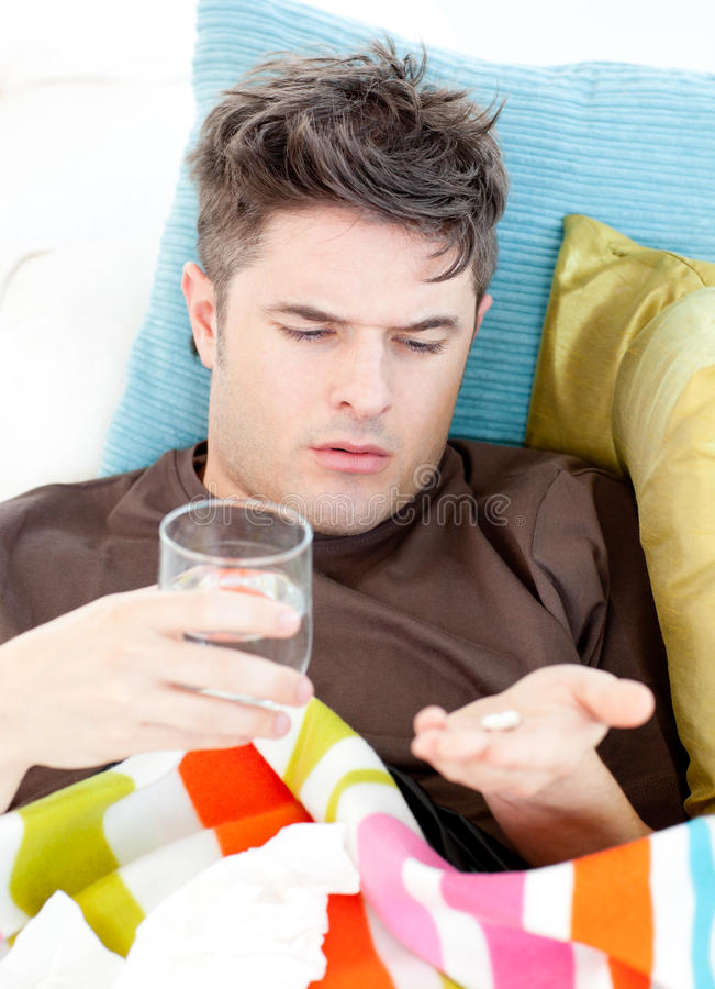 Download Sick Caucasian Man Taking Pills With Water Stock Image - Image: 15518055