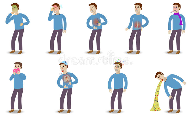 Sick characters set of people with pain and. Diseases isolated vector illustration royalty free illustration