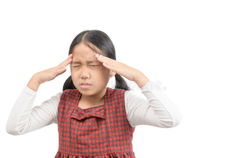 Sick Child.Cute girl suffering from headache royalty free stock photography