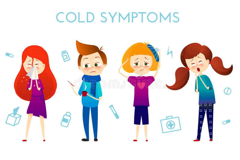 Sick child with fever, illness . Boy and girl with sneeze, high temperature, sore throat, heat, cough, headache, Vector stock illustration