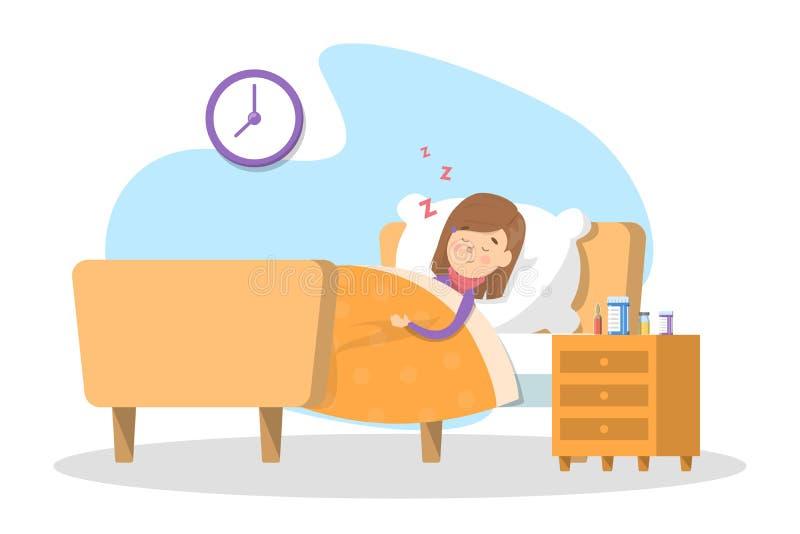 Sick child sleeping in the bed. Little kid vector illustration