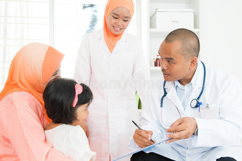 Asian girl hospital medical exam by doctor