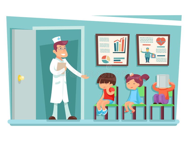 Sick children at doctor sitting on chairs cartoon characters vector illustration. Sick children doctor sitting on chairs cartoon characters vector illustration royalty free illustration