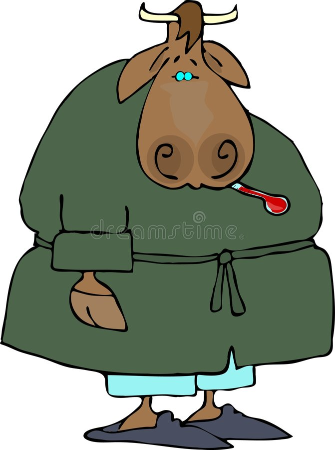 Sick Cow stock illustration