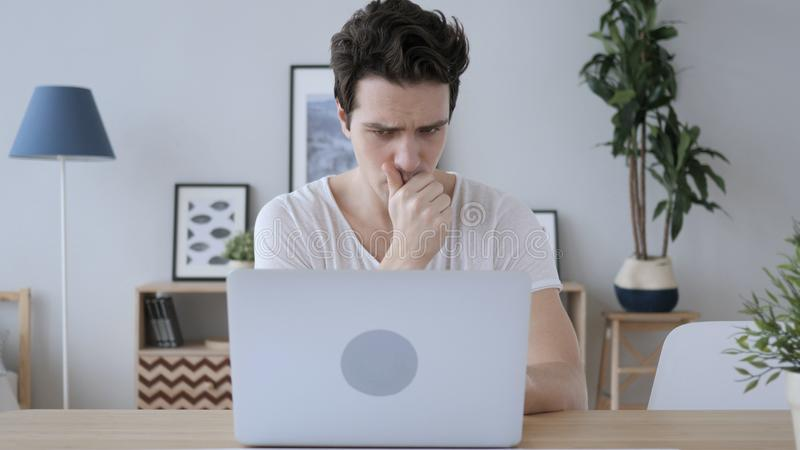 Sick Creative Man Coughing at Work in Office, Cough stock image