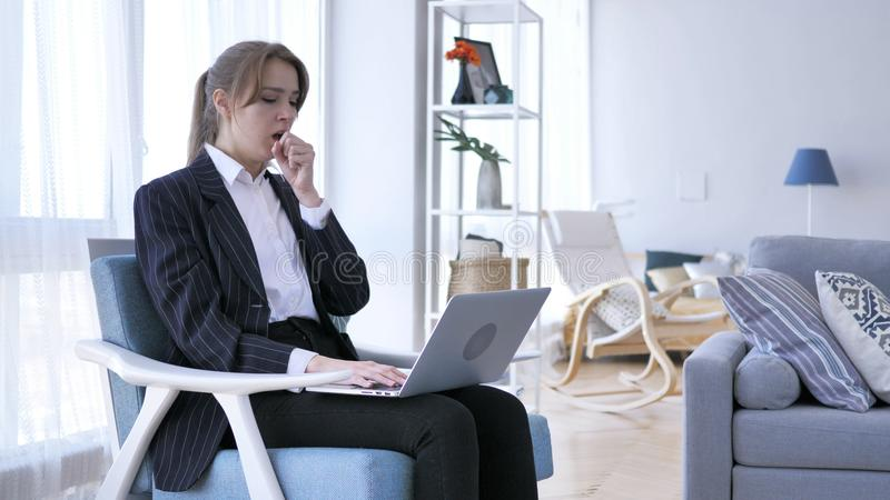 Sick Creative Woman Coughing at Work in Office, Cough royalty free stock photos