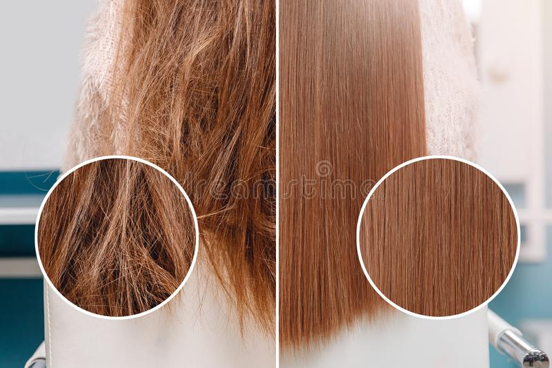 Sick, cut and healthy hair care straightening. Before and after treatment.  stock photos
