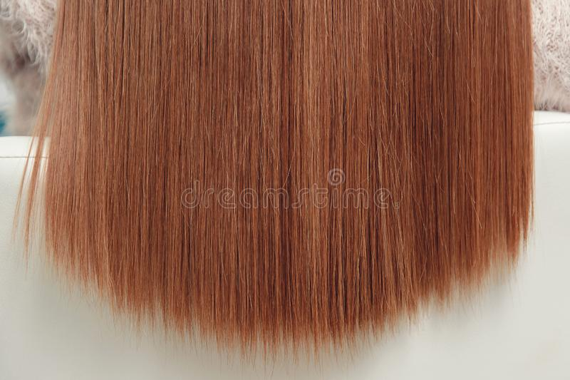 Sick, cut, smooth hair care keratin tips. Before and after treatment. Sick, cut, healthy smooth straight hair care keratin tips. Before and after treatment royalty free stock image