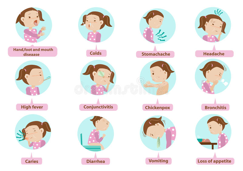 Sick daughter. Sick characters set of Children 12 diseases isolated illustration vector illustration
