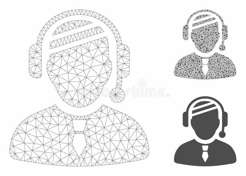 Sick Dispatcher Vector Mesh Carcass Model and Triangle Mosaic Icon. Mesh sick dispatcher model with triangle mosaic icon. Wire carcass polygonal mesh of sick vector illustration