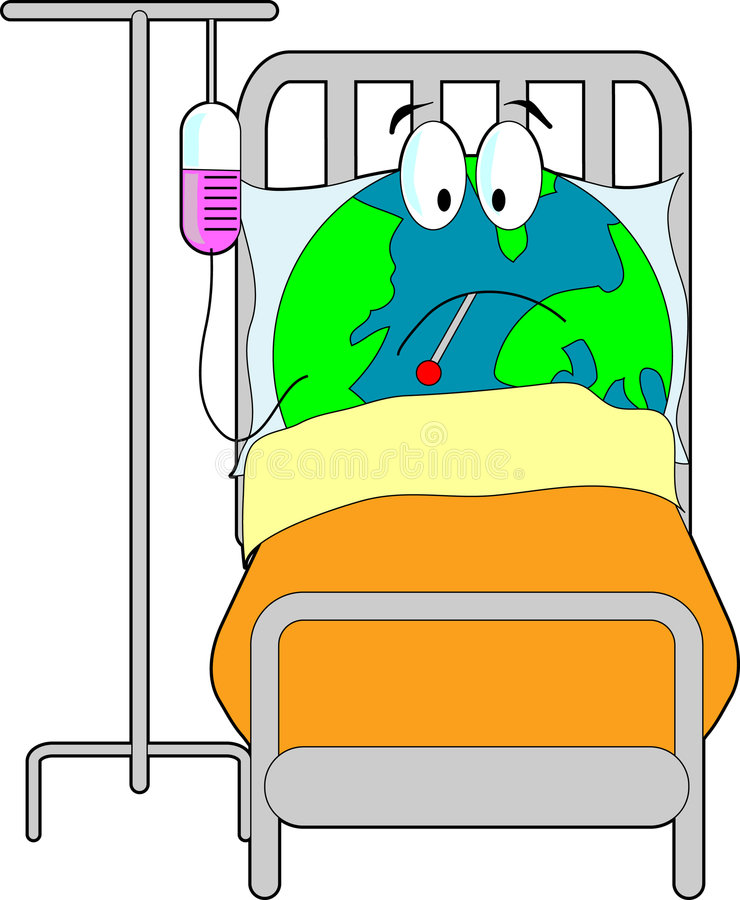 Sick Earth. In bed with a thermometer stock illustration