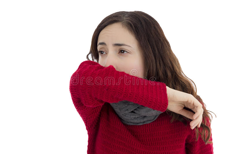 Sick flu woman coughing stock image