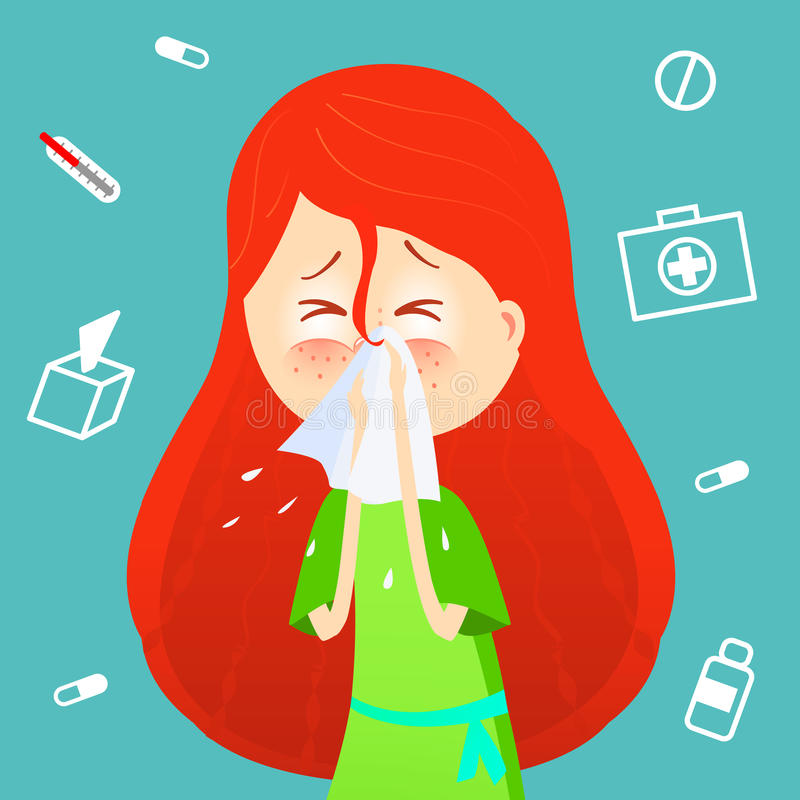 Sick girl. Allergy kid sneezing. Vector cartoon illustration. ill child with flu or virus. Health care concept. Runing vector illustration